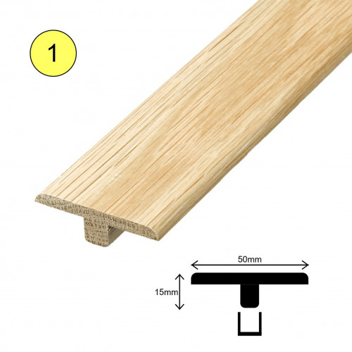 1 Length: (1) - Fastrack T Profile - Solid Oak - Lacquered - 15mm x 50mm x 2700mm - (2.7m length)