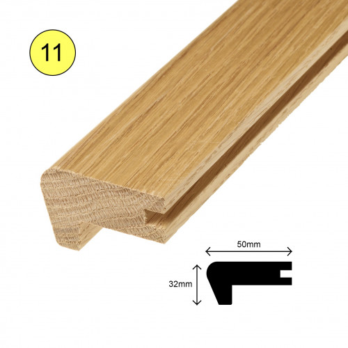 1 Length: (11) - Stairnose Profile - Solid Oak - Lacquered - for 20mm Floor - 50mm x 32mm x 900mm - (0.9m length)