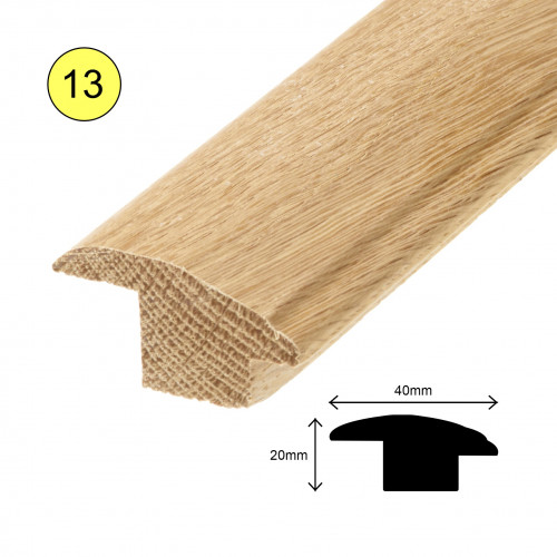 1 Length: (13) - Semi Ramp Profile - Solid Oak - Lacquered - for 15mm Floor - 40mm x 20mm x 900mm - (0.9m length)