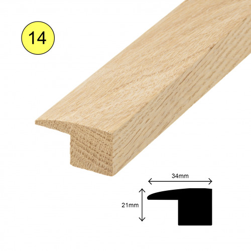 1 Length: (14) - L Profile - Solid Oak - Lacquered - for 15mm Floor - 34mm x 21mm x 900mm - (0.9m length)