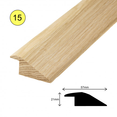 1 Length: (15) - Ramp Profile - Solid Oak - Lacquered - for 15mm Floor - 57mm x 21mm x 900mm - (0.9m length)