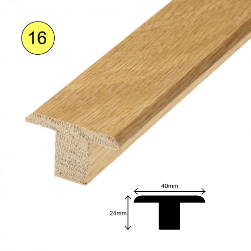 1 Length: (16) - Tall T Profile - Solid Oak - Lacquered - for 20mm Floor - 40mm x 24mm x 900mm - (0.9m length)