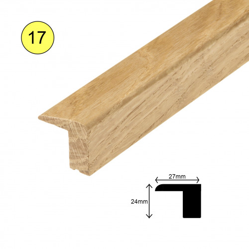 1 Length: (17) - Tall L Profile - Solid Oak - Unfinished - For 20mm Floor - 27mm x 25mm x 2700mm - (2.7m length)