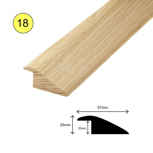 1 Length: (18) - Ramp Profile - Solid Oak - Lacquered - for 20mm Floor - 57mm x 25mm x 900mm - (0.9m length)