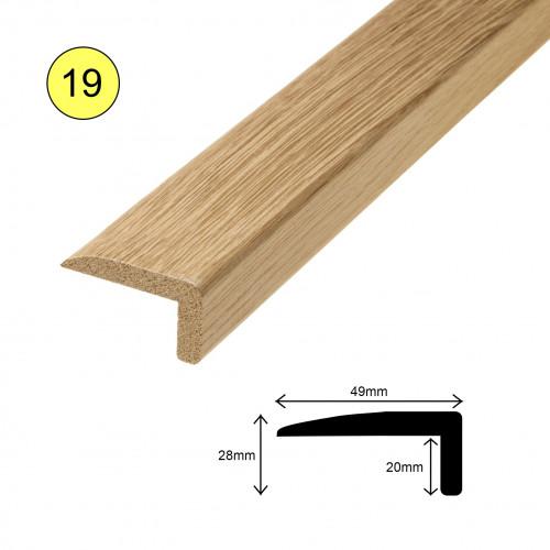 1 Length: (19) - Multi Purpose L Profile - Solid Oak - Lacquered - 50mm x 25mm x 900mm - (0.9m length)