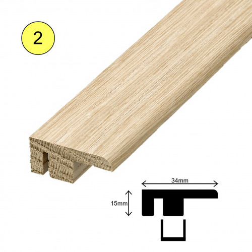 1 Length: (2) - Fastrack End Profile - Solid Oak - Lacquered - 34mm x 15mm x 2700mm - (2.7m length)