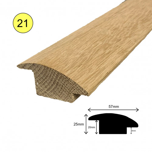 1 Length: (21) - Semi Ramp Profile - Solid Oak - Lacquered - for 20mm Floor - 57mm x 25mm x 900mm - (0.9m length)