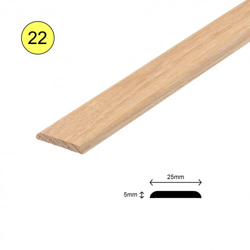 1 Length: (22) - Flat Strip - Solid Oak - Lacquered - Rounded Both Sides - 25mm x 5mm x 900mm - (0.9m length)