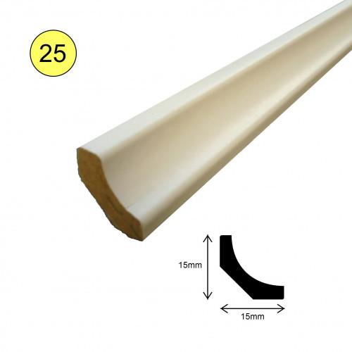 1 Length: (25) - Scotia Profile - MDF - White - 16.5mm x 16.5mm x 2400mm - (2.4m length)