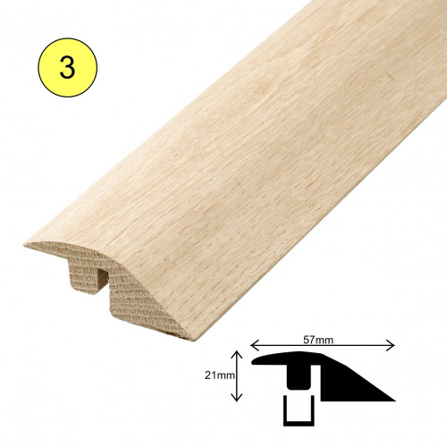 1 Length: (3) - Fastrack Ramp Profile - Solid Oak - Lacquered - for 15mm Floor - 57mm x 21mm x 2700mm - (2.7m length)