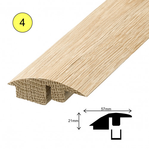 1 Length: (4) - Fastrack Semi Ramp Profile - Solid Oak - Lacquered - for 15mm Floor - 57mm x 21mm x 2700mm - (2.7m length)