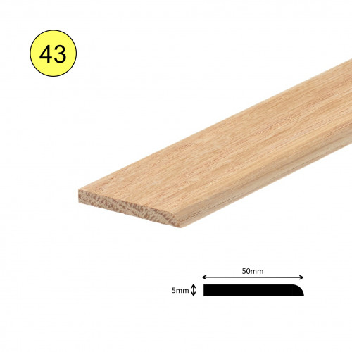 1 Length: (43) - Flat Strip - Solid Oak - Unfinished - 1 Round Side & 1 Flat Side - 50mm x 6mm x 900mm - (0.9m length)