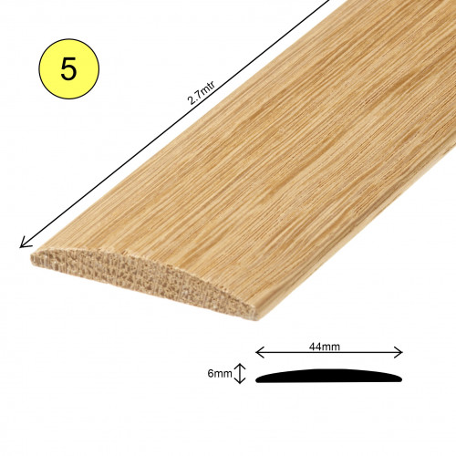 1 Length: (5) - Coverstrip Profile - Solid Oak - Lacquered - 44mm x 6mm x 2700mm - (2.7m length)
