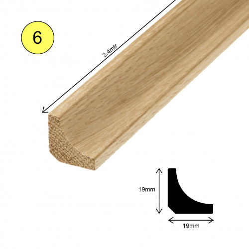 1 Length: (6) - Scotia Profile - Solid Oak - Lacquered - 19mm x 19mm x 2400mm - (2.4m length)