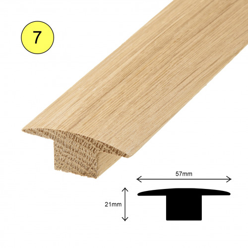 1 Length: (7) - T Profile - Solid Oak - Lacquered - for 15mm Floor - 57mm x 21mm x 900mm - (0.9m length)