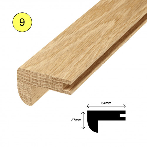 1 Length: (9) - Stairnose Profile - Solid Oak - Lacquered - for 15mm Floor - 54mm x 37mm x 900mm - (0.9m length)