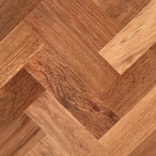1m²: 18mm - Natural Merbau - Solid - Herringbone Block Flooring - Unfinished - 18x70x230mm - (0.483m²/pk)