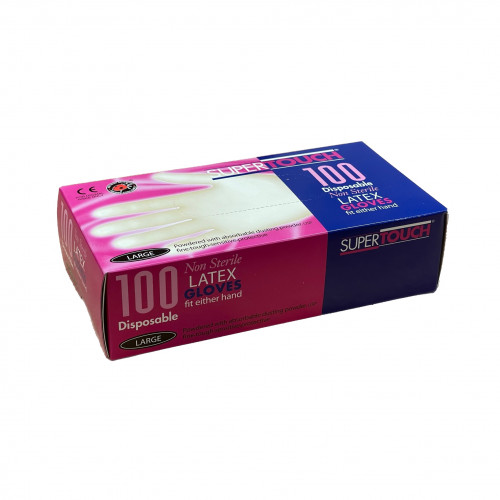 1 Box: Latex Gloves - Powdered - GD45 - Clear - Large - (100/Box)