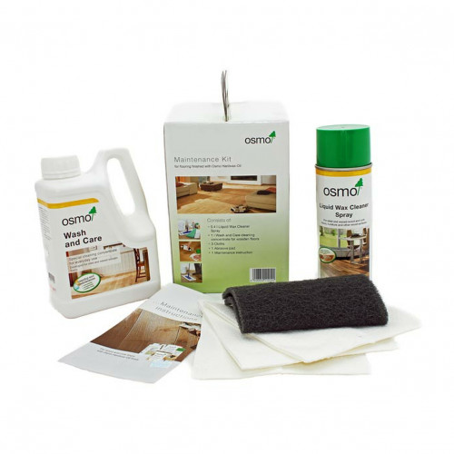 Osmo - Maintenance Kit - Contains: 1ltr Wash & Care, 0.4ltr Liquid Wax Spray, 3 Cloths