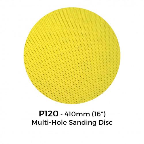 """P120 - Yellow Multi Hole Hook & Loop Sanding Disc - 410mm - 16"""""""