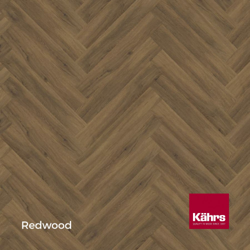1m²: 5mm - Kahrs - Luxury Vinyl Tile - Wood Herringbone Design - Traditional - Redwood - Rights - C5i Click System - Ceramic Wear Resistant Layer - Rigid Core SPC + IXPE Sound Reducing Backin