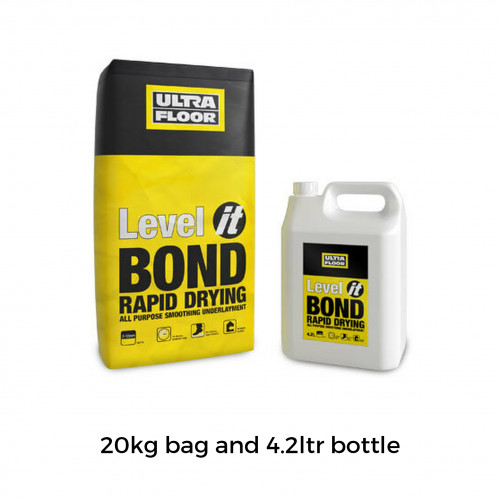 20kg Bag & 4.2ltr Bottle: UltraFloor - Level It Bond - Rapid Drying All Purpose 2K Levellng Compound - for use over adhesive residues