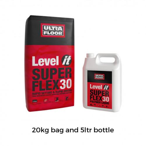 20kg Bag & 5ltr Bottle: UltraFloor - Level It Super Flex 30 - Fibre Reinforced 2K Levelling Compound