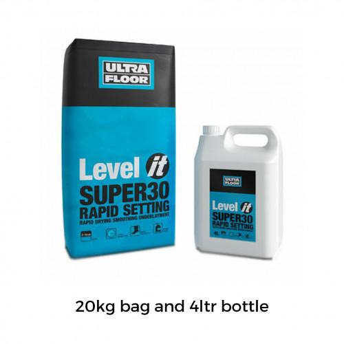 20kg Bag & 4ltr Bottle: UltraFloor - Level It Super30 - Rapid Set 2K Levelling Compound