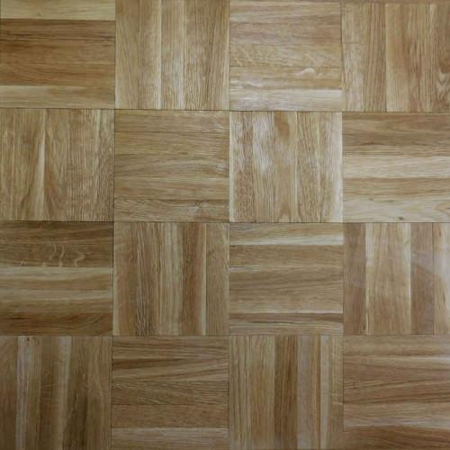 1m²: 8mm Natural Grade Oak - Solid Mosaic Panel Flooring - Unfinished - 8x480x480mm - (1.382m²/pk)