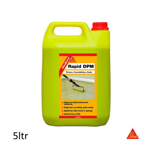 5ltr: SikaBond - Rapid DPM - Solvent free 1K moisture curing reaction polyurethane primer and damp proof membrane for cement based substrates.