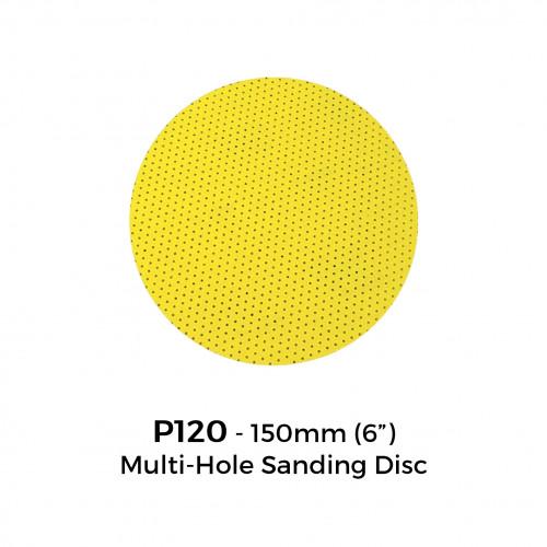 "1 Box: P120 - Yellow Multi Hole Hook & Loop Sanding Disc - 150mm - 6"" - (25/Box)"