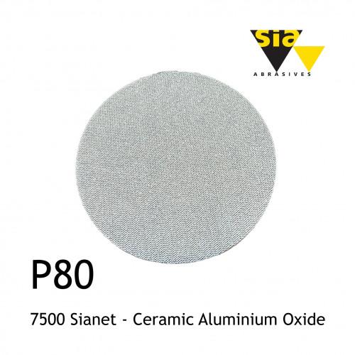 "1 Box: P80 - Sia - 7500 Sianet - Knitted Fabric Disc - Ceramic Aluminium Oxide - 150mm - 6"" - (50/box)"