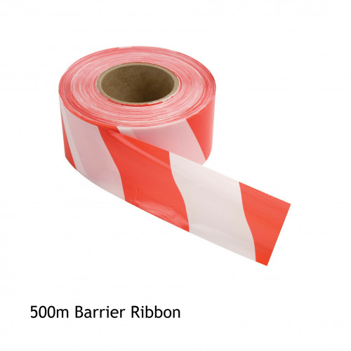 1 Roll: Barrier Ribbon - Red & White - 75mm x 500m