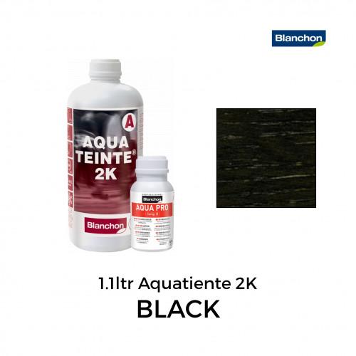 1.1ltr: Blanchon - Stain - Aquateinte 2K - Water Based 2K PU Stain - Black - Including Hardener