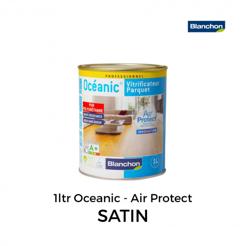 1ltr: Blanchon - Oceanic Air Protect - Water Based 1K PU Lacquer - Satin (Satine)