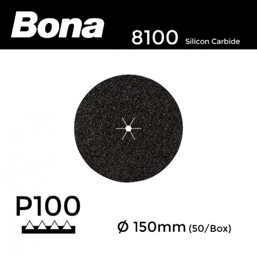 "1 Box: P100 - Bona - Silicon Carbide - Hook & Loop Sanding Discs - 150mm - 6"" - (50/Box)"