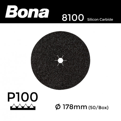 "1 Box: P100 - Bona - Silicon Carbide - Hook & Loop Sanding Discs - 178mm - 7"" - (50/Box)"