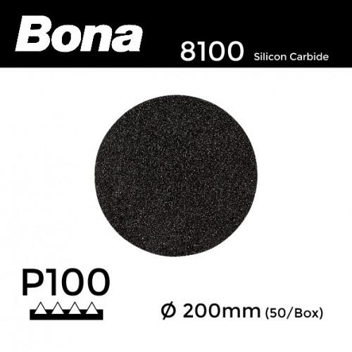 1 Box: P100 - Bona - Silicon Carbide - Hook & Loop Sanding Discs - 200mm - (50/Box)
