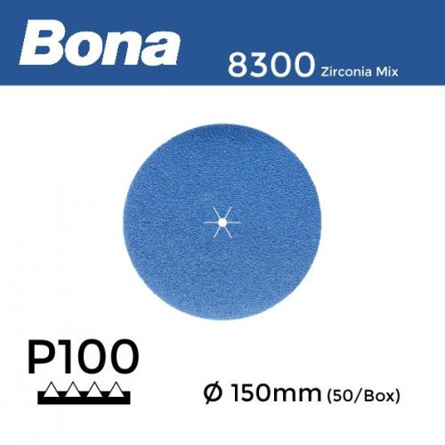 "1 Box: P100 - Bona - Zirconia Mix - Anti Static - Hook & Loop Sanding Discs - 150mm - 6"" - (50/Box)"