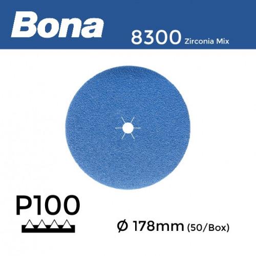 "1 Box: P100 - Bona - Zirconia Mix - Anti Static Hook & Loop Sanding Discs - 178mm - 7"" - (50/Box)"