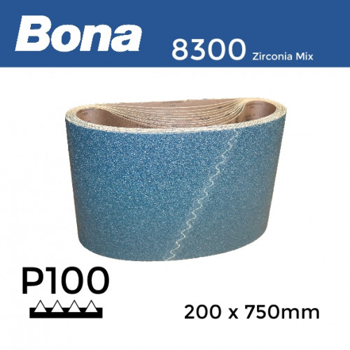 "P100 - Bona - Zirconia Mix - Anti Static Sanding Belt - 200x750mm - 8"""