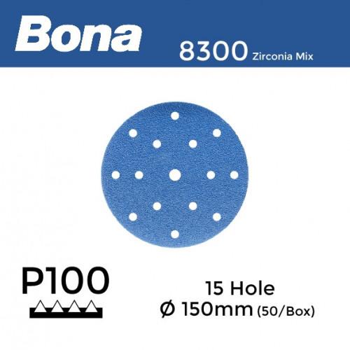 "1 Box: P100 - Bona - Zirconia Mix - Hook & Loop Sanding Discs - 15 Hole - 150mm - 6"" - With 8mm Centre Hole - (50/Box)"