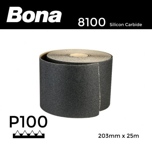 """25m Roll: P100 - Bona - Silicon Carbide - Sandpaper - 203mm - 8"""""""