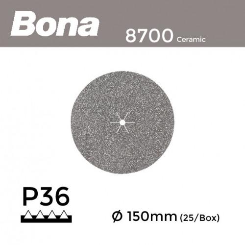 "1 Box: P36 - Bona - Ceramic - Hook & Loop Sanding Discs - 150mm - 6"" - (25/Box)"