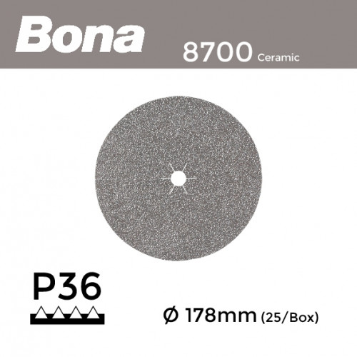 "1 Box: P36 - Bona - Ceramic - Hook & Loop Sanding Discs - 178mm - 7"" - (25/Box)"