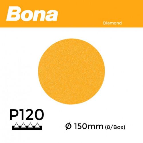 "1 Box: P120 - Bona - Diamond Discs - 150mm - 6"" - (8/Box)"