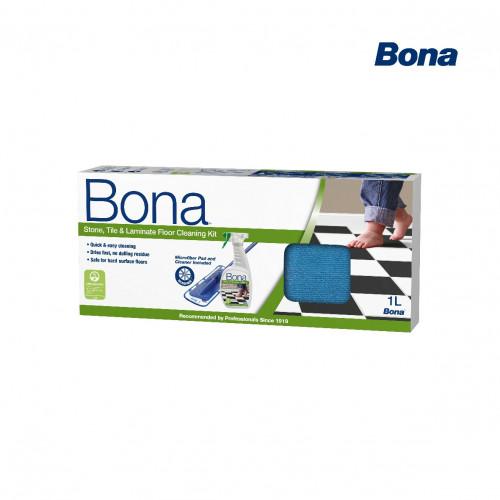 Bona - Stone Tile and Laminate Floor Cleaning Kit - Contains: Bona Mop & Spray Bottle
