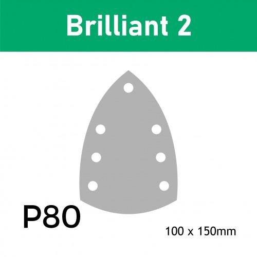 "1 Box: (492795) P80 - Festool - Brilliant 2 - Hook & Loop Sanding Sheets - 100mm x 150mm - 6"" - (50/Box)"