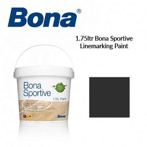 1.75ltr: Bona - Sportive Paint - Black - 1K Water Based - Indoor Court Line Marking Paint