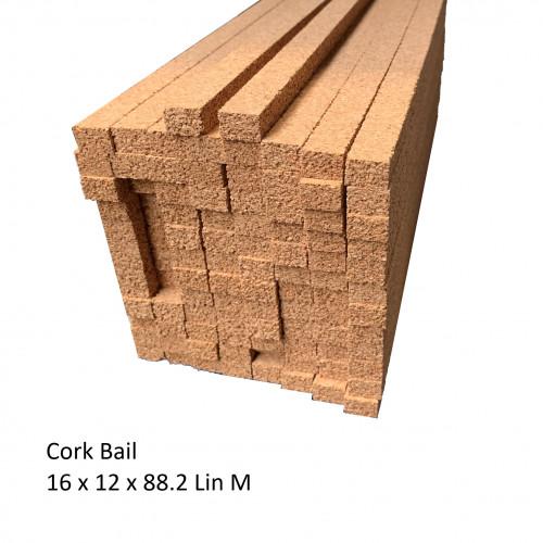 1 Bail: Cork Expansion Strip - 16 x 12 x 900mm - (98 Strips - 88.2 lin m/bail)